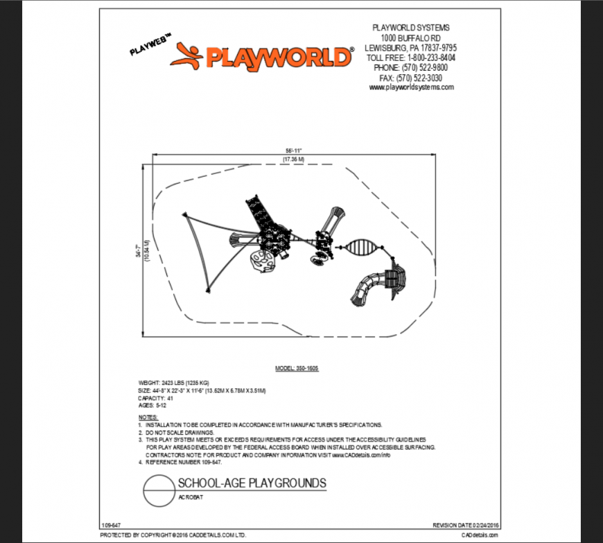 Acorbat top view school playground play area structure details dwg file