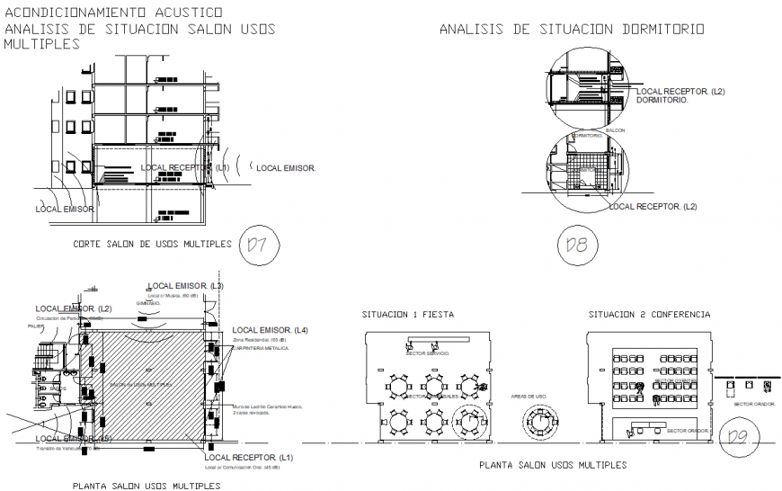 Acoustic conditioning situation analysis salon multiples plan, elevation and section detail dwg file