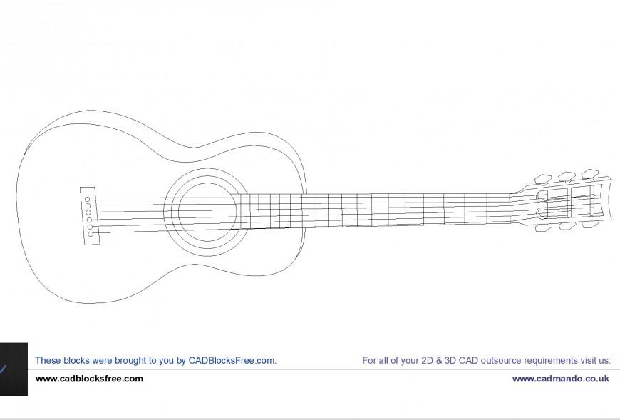 Acoustic Guitar elevation detail dwg file