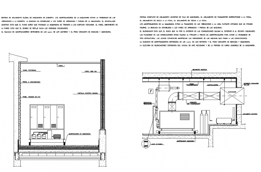 Acoustic isolation roof plan and section autocad file