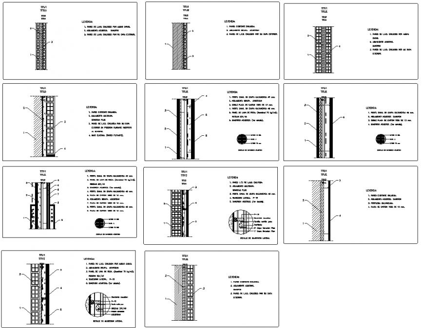 acoustic isolation walls section plan layout file