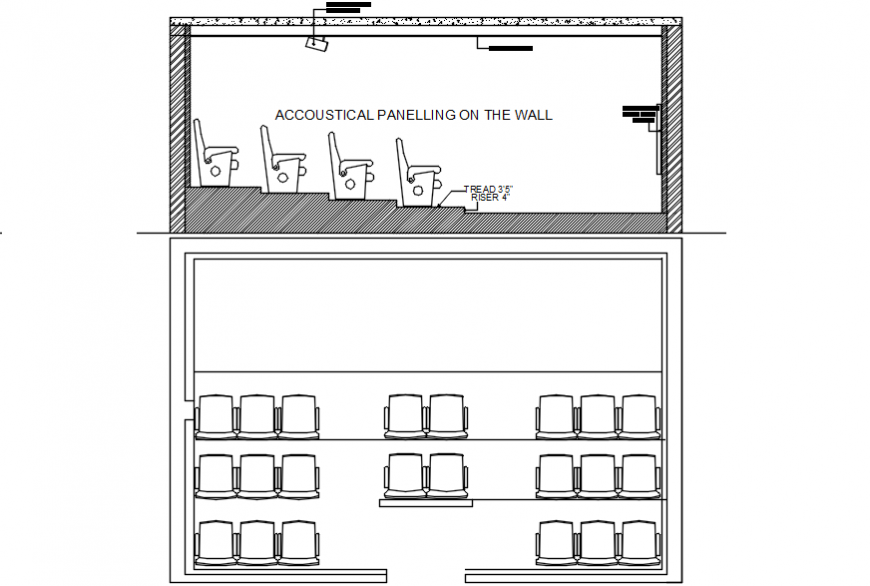 Acoustical peeling wall section and plan details of theater screen dwg file