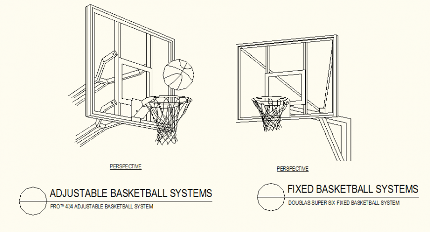 Adjustable and fixed basket ball system detail autocad file