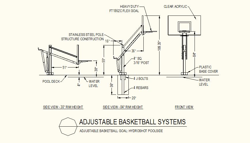 Adjustable basketball goal pool-side detail dwg file