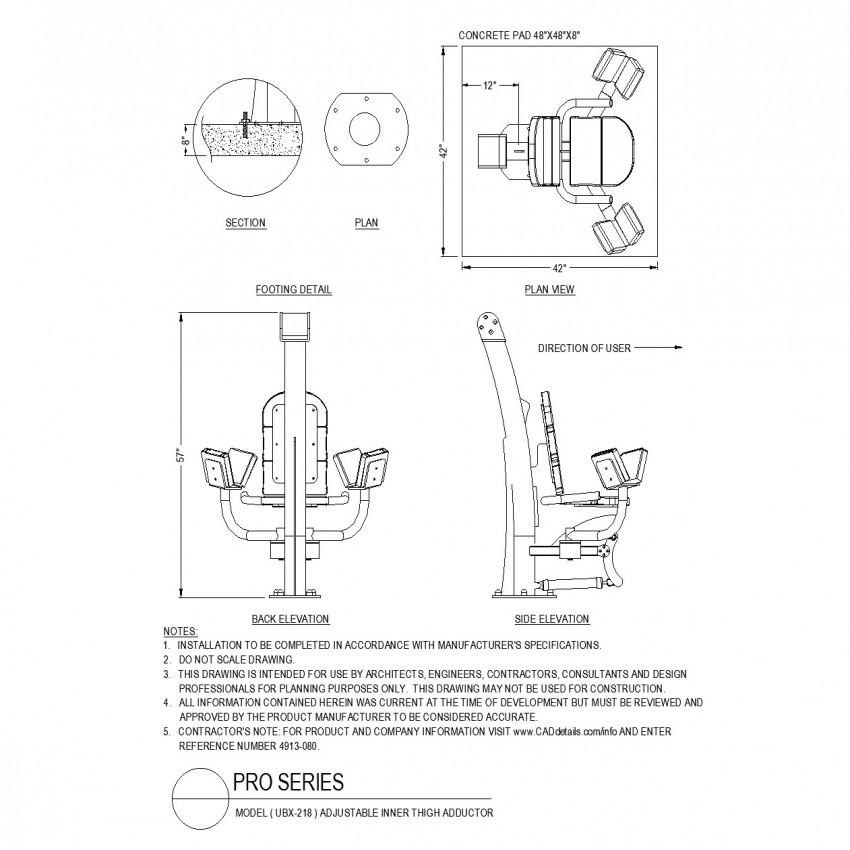 Adjustable inner thigh adductor equipment autocad file