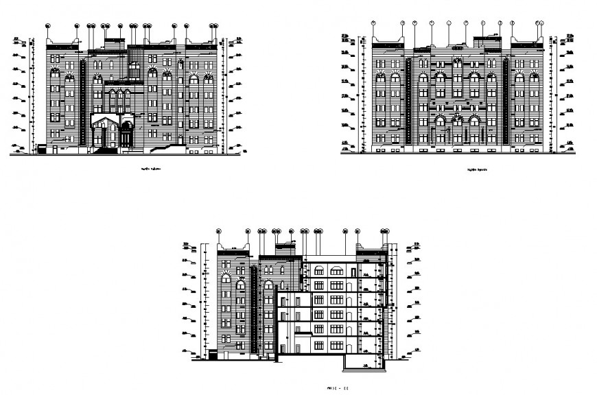 ADM multi-story residential building all sided elevation cad drawing details dwg file