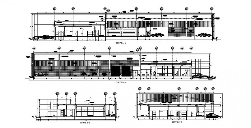Admin office building all sided section cad drawing details dwg file