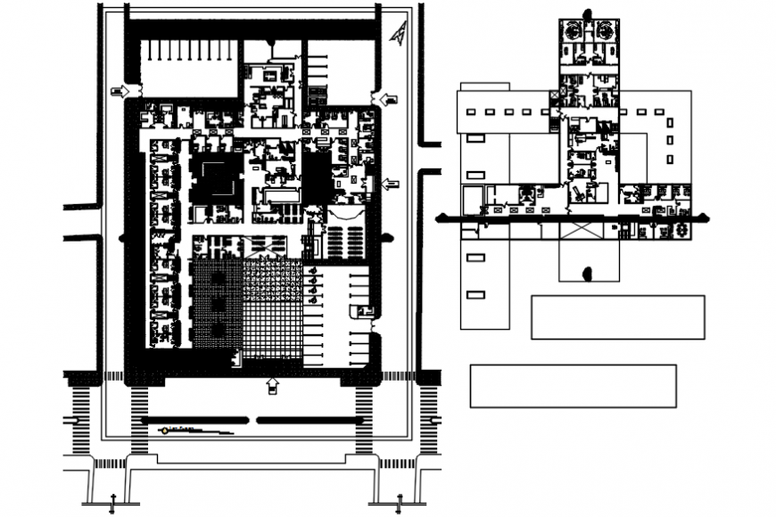 Admin office building distribution and floor plan 2d drawing details dwg file