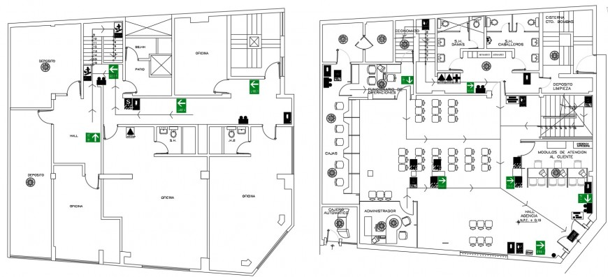 Admin office building floor plan with furniture cad drawing details dwg file