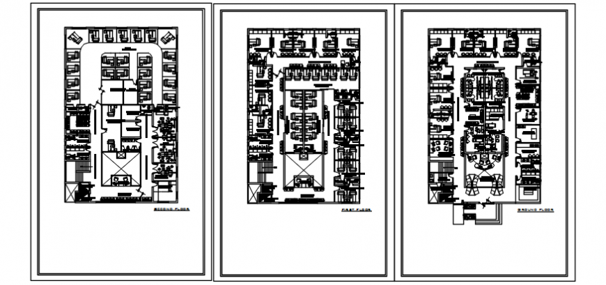 Admin office ground, first and second floor plan drawing details dwg file