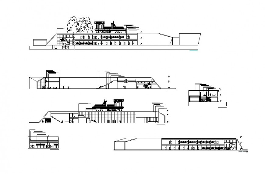 Administration building all sided section cad drawing details dwg file