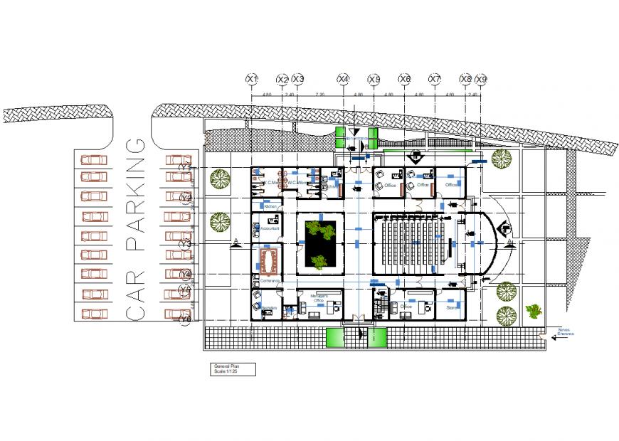 Administration building plan autocad file