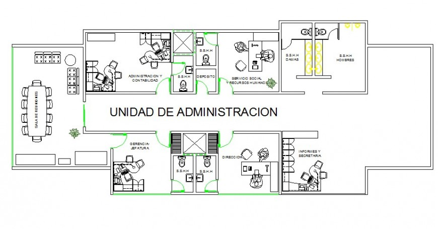 Administration floor details of multi-flooring hospital dwg file