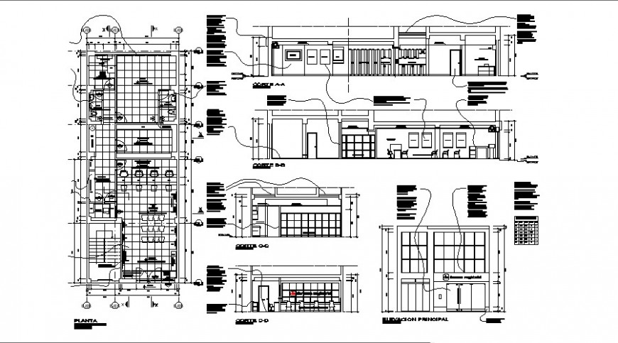 Administration office building elevation, section and floor plan details dwg file
