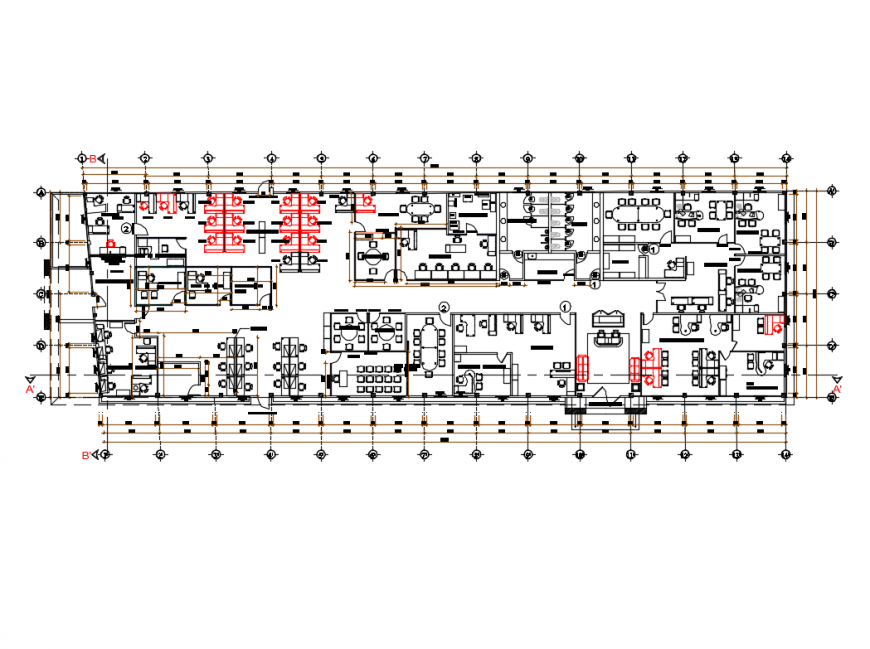 Administration office layout plan auto cad details dwg file