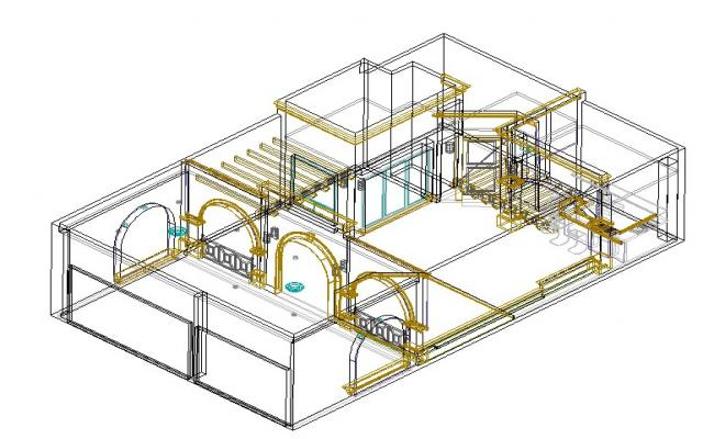House interiors 3d in autocad