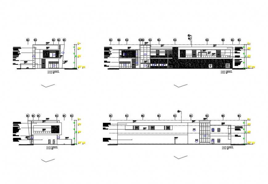 Aero-canter office building elevation and section details dwg file