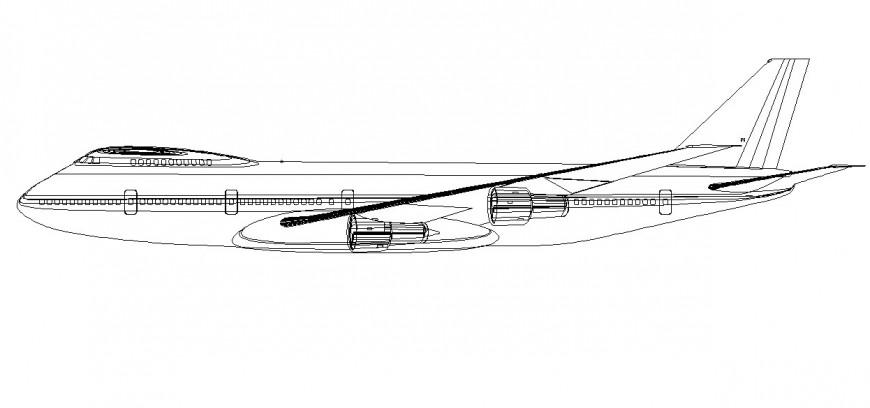 Aeroplane 2d model design dwg file