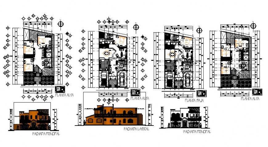 Aesthetic drawing detail of the house in dwg AutoCAD file.