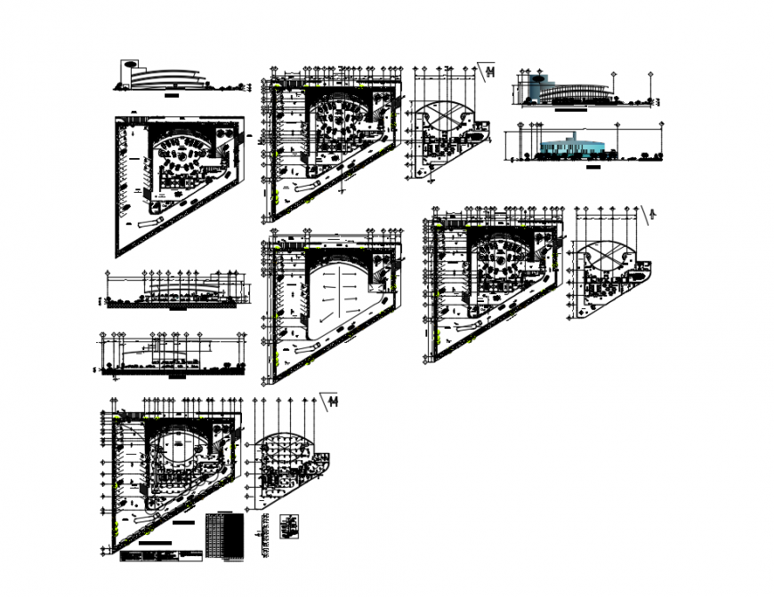 Agency office building elevation, section, plan and auto-cad details dwg file