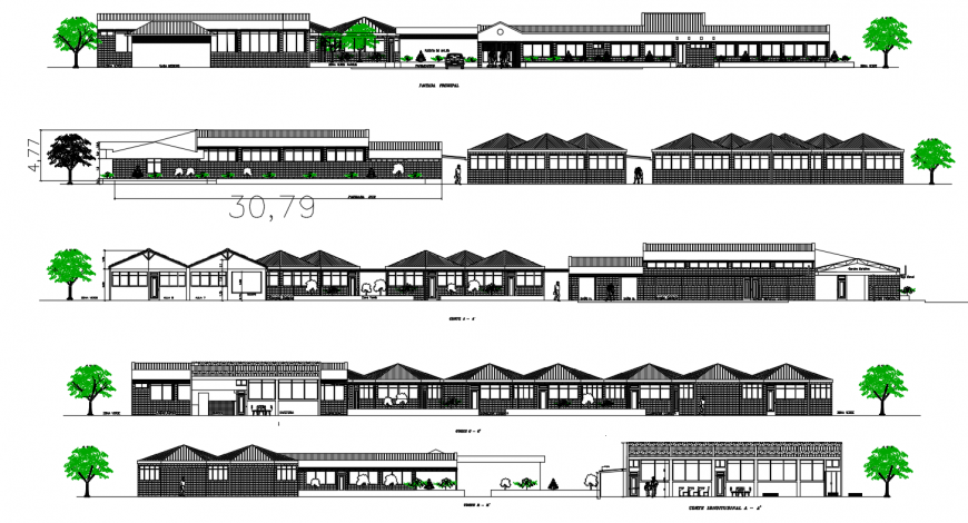 Agriculture school building all sided elevation drawing details dwg file