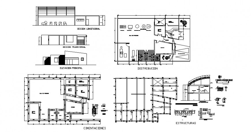 Agro-industrial plant elevation, section, plan, foundation and structure details dwg file