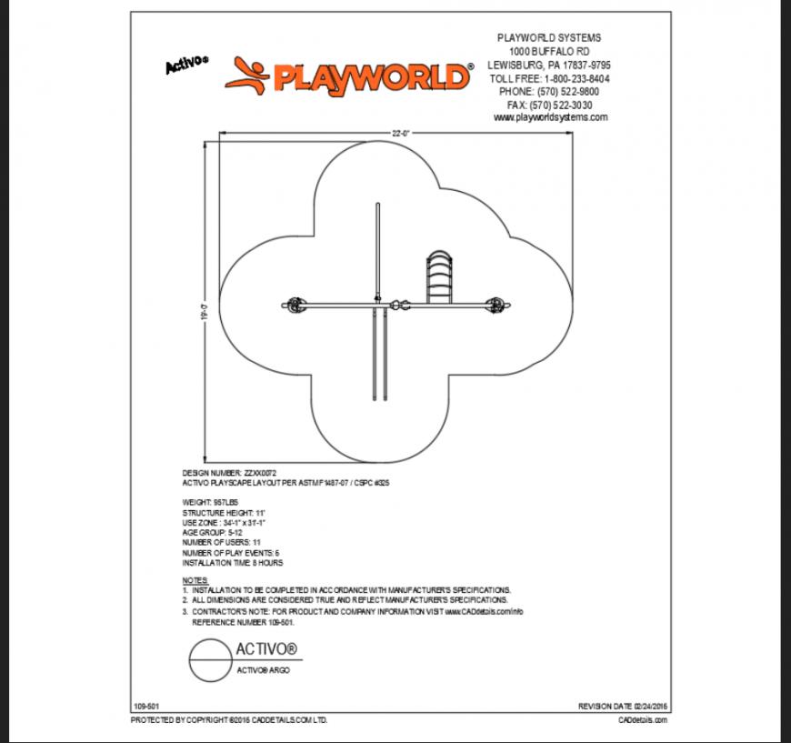 Agro activo play equipment details of garden dwg file