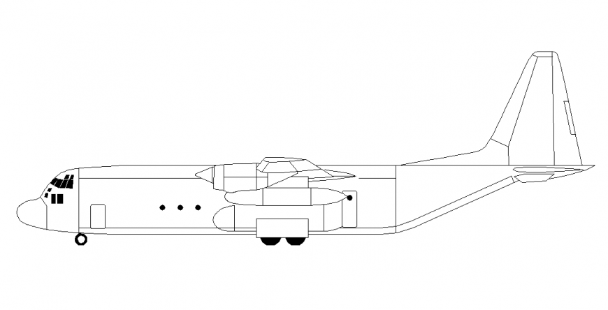 Air-plane Left side view Design Block