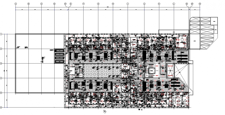 Air conditioning ducts network of building in dwg file.