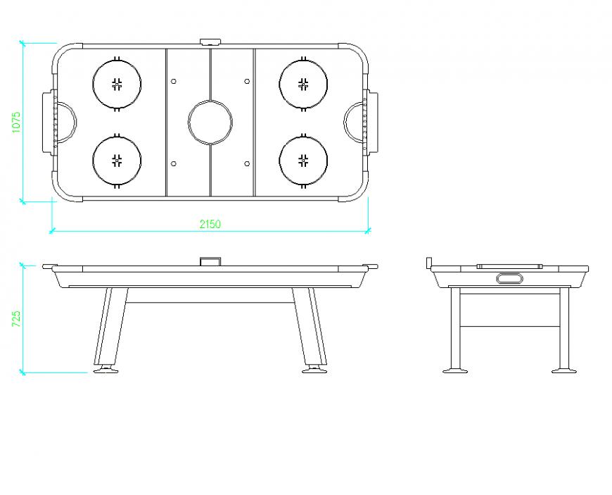 Air hockey table plan dwg file