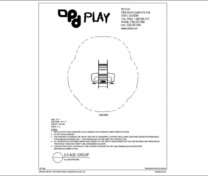 Air plane plan play equipment plan view of garden dwg file