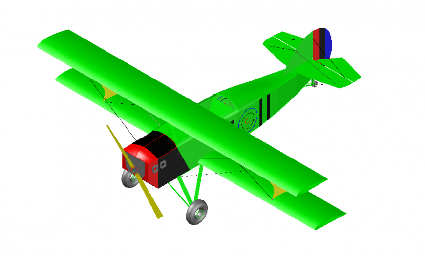 Airplane 2d model design front view detailing dwg file