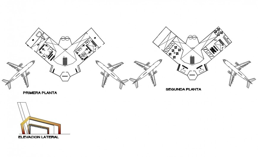 Airport back elevation and distribution plan cad drawing details dwg file