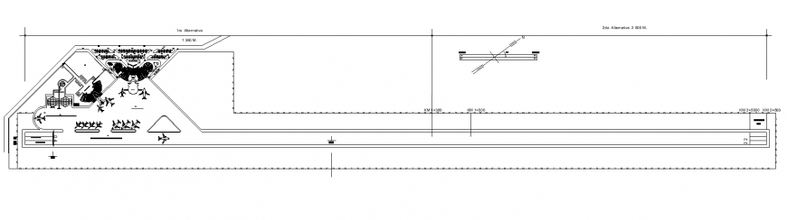 Airport building and plane detail elevation 2d view layout file