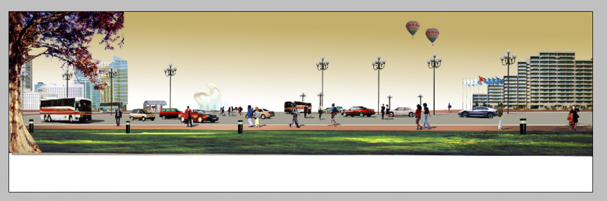 Airport building detail elevation 3d model photo shop file
