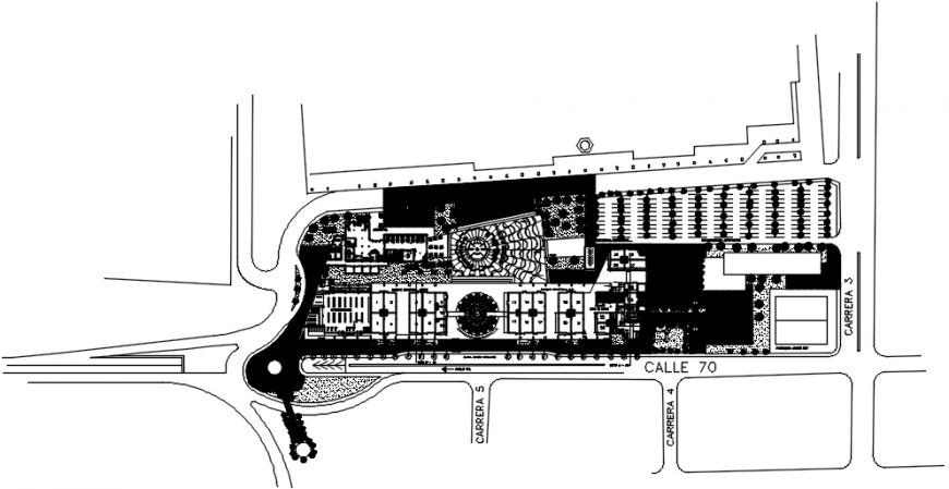 Airport building distribution plan with shopping center dwg file