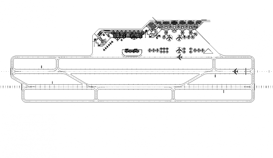 Airport building structure layout 2d view autocad file