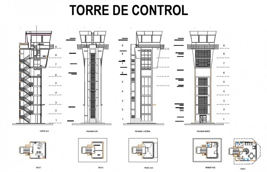 Airport control tower elevation, section, plan and auto-cad details dwg file