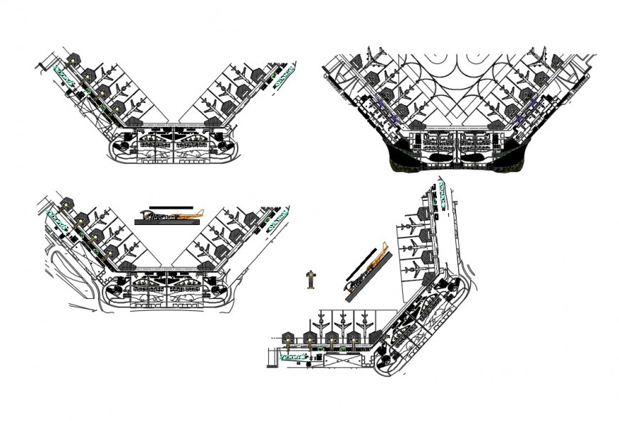 Airport different parking system plan detail 2d view layout file in autocad format