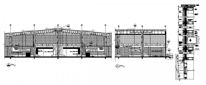 Airport entrance hall constructive section and structure cad drawing details dwg file