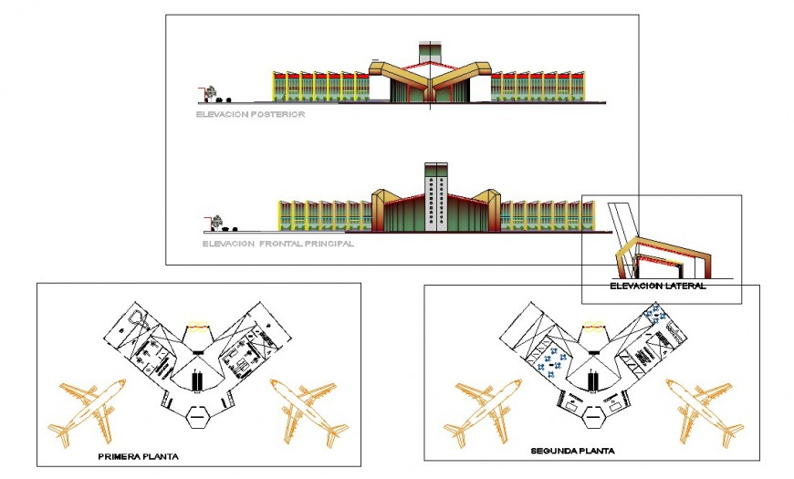 Airport exterior elevation dwg file