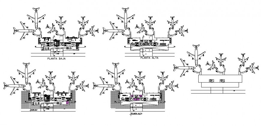 Airport floor plan distribution and landscaping structure cad drawing details dwg file