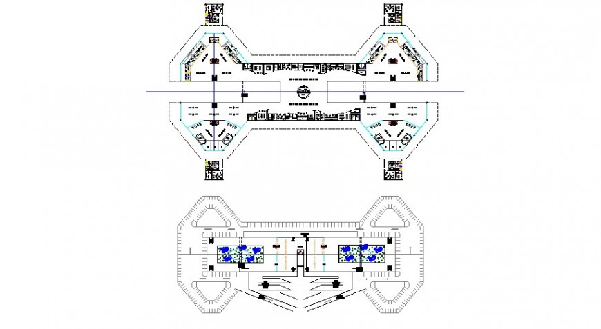 Airport floors distribution layout plan cad drawing details dwg file