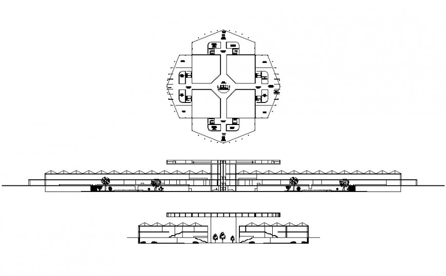 Airport front and back section and distribution plan drawing details dwg file