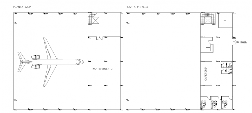 Airport ground and first floor layout plan cad drawing details dwg file