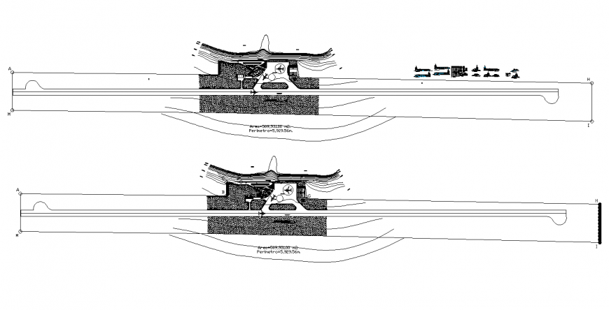 Airport layout plan with runway and landscaping structure details dwg file