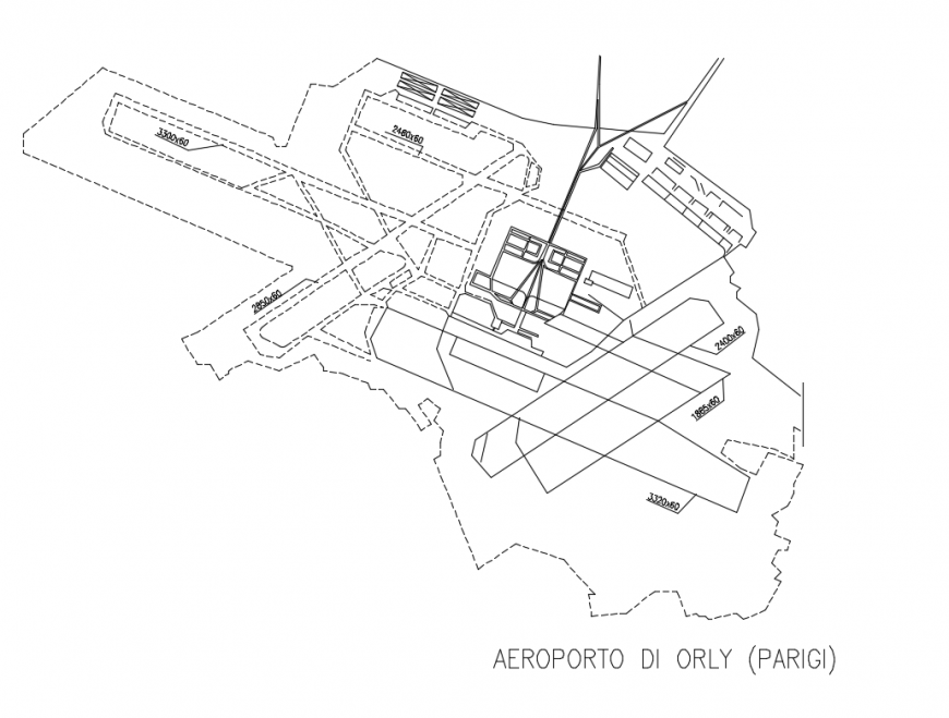 Airport of Orly (Paris) architecture project cad drawing details dwg file
