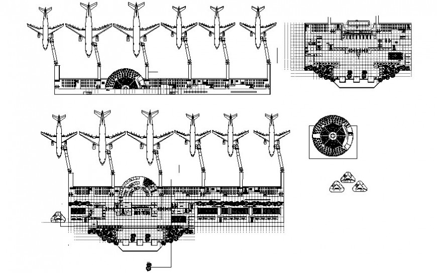 Airport parking system details drawing in autocad