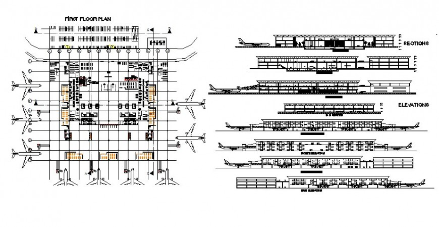 Airport plan, elevation and section detail 2d view CAD block layout file in autocad format