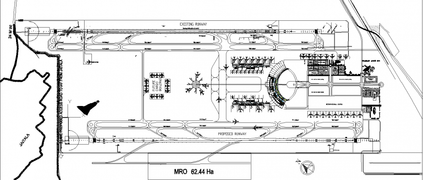 Airport plan with detailing of dwg file.